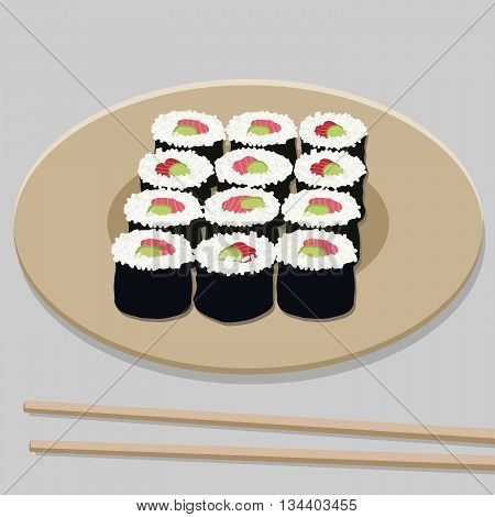 Sushi roll set with salmon and avocado filling on the round plate. Illustration. Japanese cuisine template. Asian food. Chopsticks.