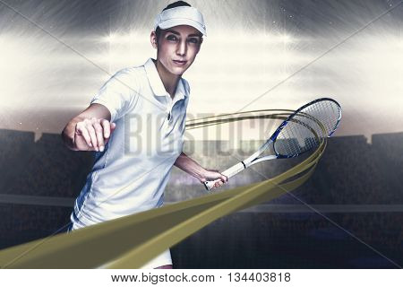 Female athlete playing tennis against digitally generated image of supporters in tribune