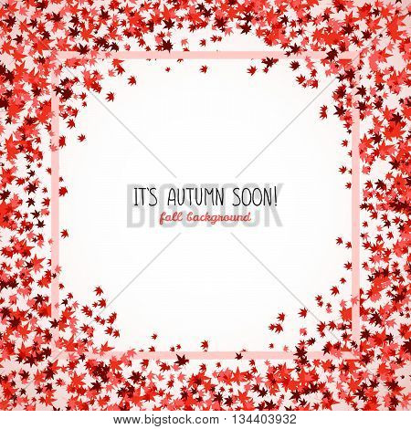Round frame made from red maple leaves. Copy space. Background of autumn leaves. Frame for text. Momiji. Autumn concept. Vector illustration.