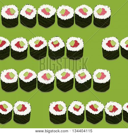 Sushi roll sets with salmon and avocado filling. Illustration. Seamless pattern. Asian texture. Japanese cuisine template. Pattern fills. For decoration or printing on fabric.