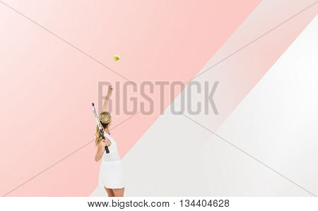 Athlete holding a tennis racquet ready to serve against different colors