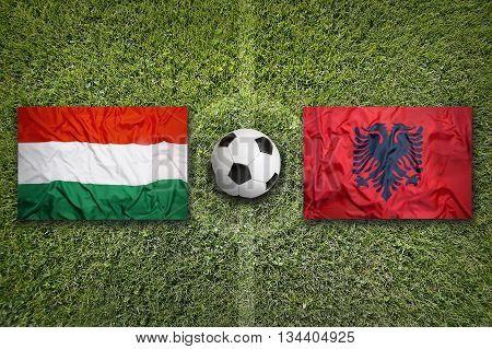 Hungary Vs. Albania Flags On Soccer Field