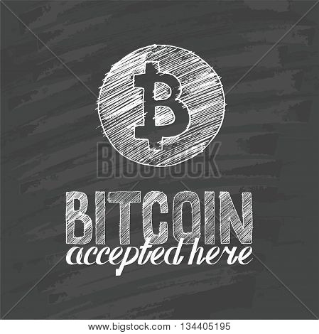 hand drawn Bitcoin symbol and letters bitcoin accepted here