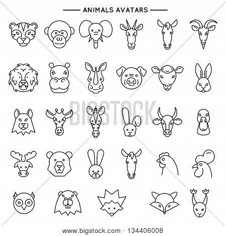 Animal heads in thin line style icons set vector illustration. Vector line set of domestic, farm and wild animals.