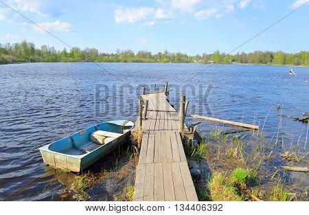 Pier on the Lake Vuoksa the Karelian Isthmus.