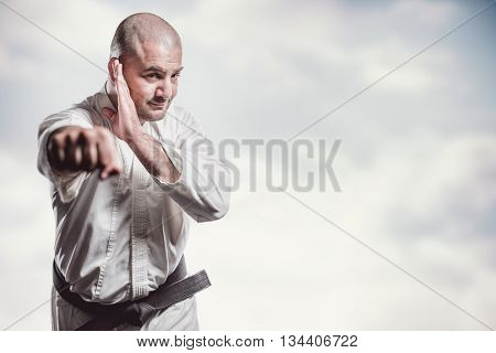 Fighter performing karate stance against mountain peak through the clouds