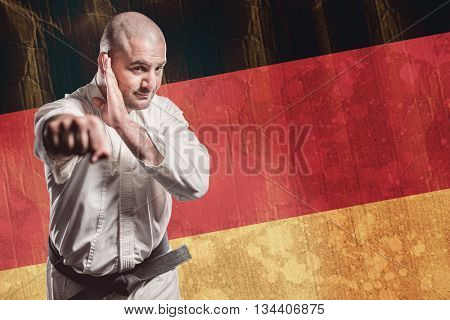 Fighter performing karate stance against germany flag in grunge effect