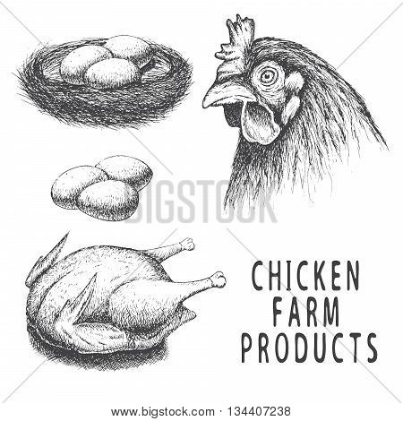 Set of monochrome chicken farm products.Isolated on white background.Vector illustration