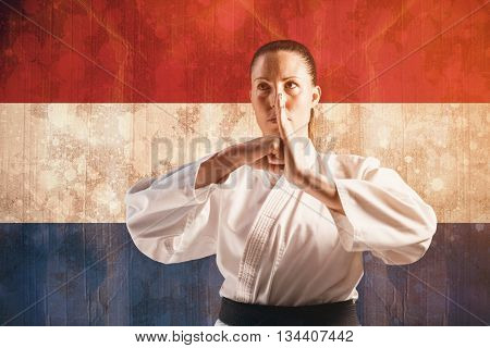 Female fighter performing hand salute against netherlands flag in grunge effect