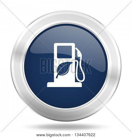 biofuel icon, dark blue round metallic internet button, web and mobile app illustration