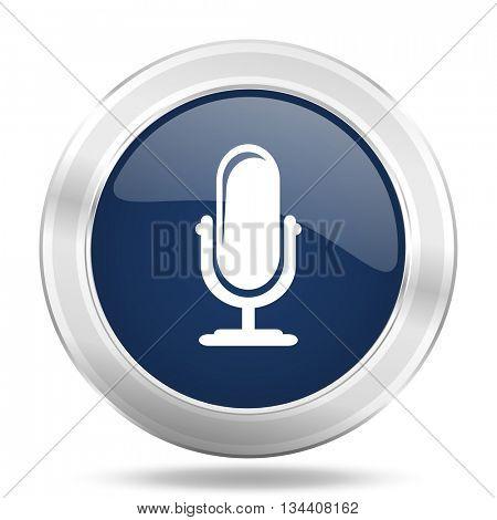 microphone icon, dark blue round metallic internet button, web and mobile app illustration