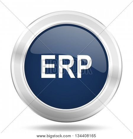 erp icon, dark blue round metallic internet button, web and mobile app illustration