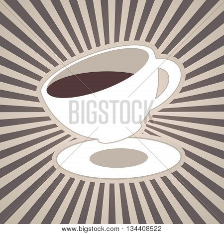 Vector coffee or tea cup and stripes beams rays in brown coffee milk white colors. Vintage design for menu brochures graphic and simple design. Hot espresso cappuccino or americano
