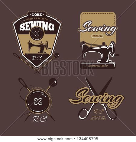 Tailoring color vector logo, labels and badges. Vintage collection, logo tailoring, badge tailoring, label tailoring illustration