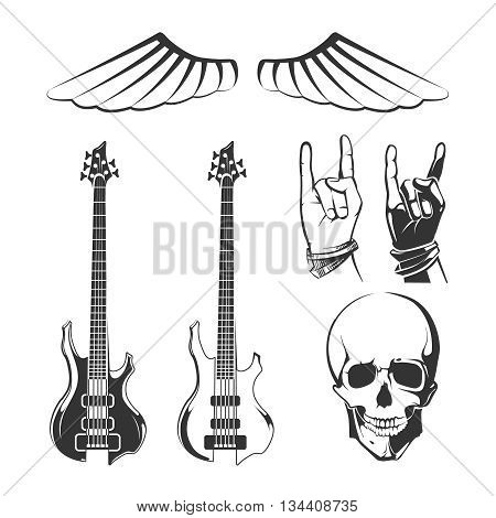 Elements for rock music and recording studios vector vintage emblems, labels, badges and logos. Logo recording studio, rock music label, rock music badge, emblem rock music illustration