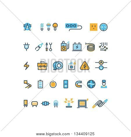 Electric energy line vector icon. Energy power, energy electric line, energy industry, electricity battery illustration
