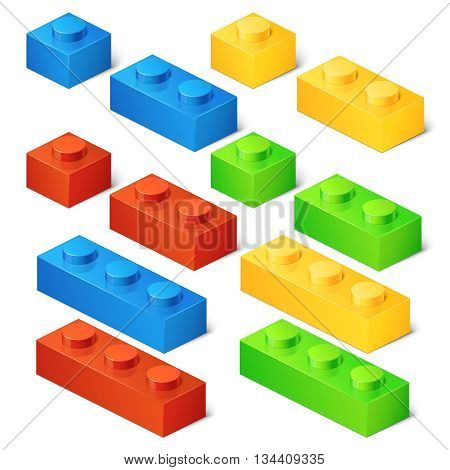 Construction toy cubes. Connector bricks. 3D isometric set. Game block, construction block toy, brick plastic toy, cube toy illustration