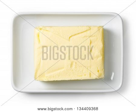 Butter Dish Isolated On White, From Above