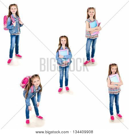 Collection of photos smiling schoolgirl with backpack and books isolated on a white background