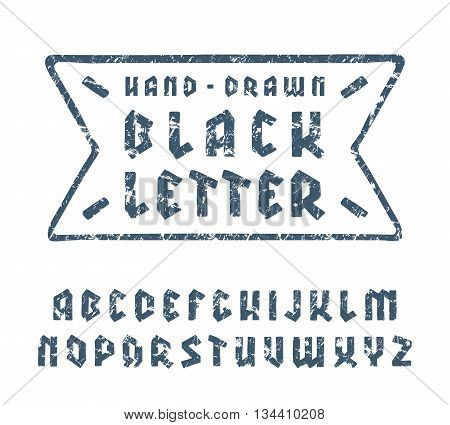 Sanserif font in black letter style with hand-drawn soft shape. Blue print with shabby texture on white background