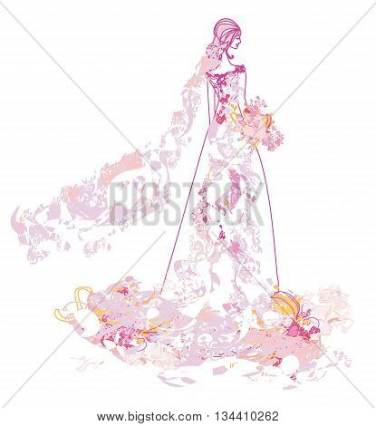 Abstract Beautiful floral bride card , vector illustration