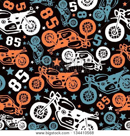 Seamless pattern with motorcycles drawings. Design for your textiles backgrounds wrapping paper. Color print on a black background