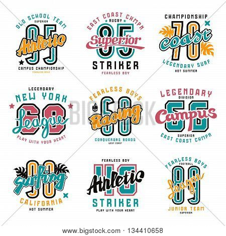 Set of sport emblems: surfing racing rugby. Graphic design for t-shirt. Color print on white background