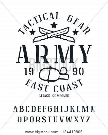 Stencil-plate serif font with rough edges. Military graphic design for t-shirt. Isolated on white background