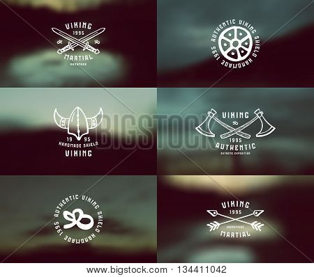 Viking emblems in hand-drawn style and blurred background landscape. Graphic design for t-shirt