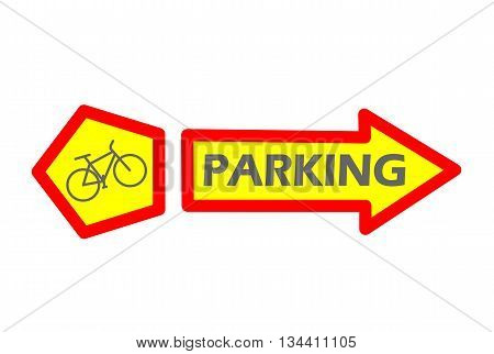 Bicycle parking sign - modern vector illustration.