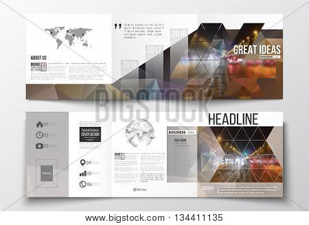 Vector set of tri-fold brochures, square design templates with element of world map and globe. Dark polygonal background, blurred image, night city landscape, car traffic, modern triangular texture.