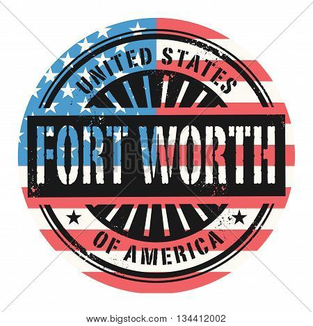 Grunge rubber stamp with the text United States of America, Fort Worth, vector illustration
