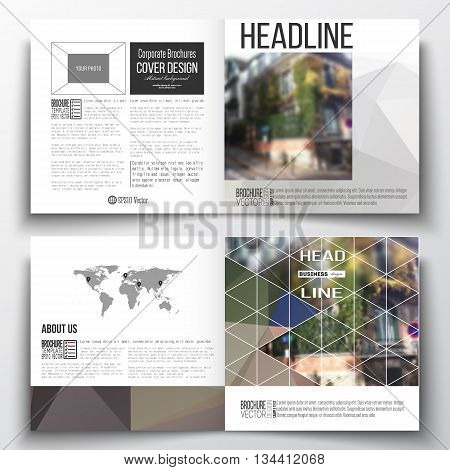 Vector set of square design brochure template Polygonal background, blurred image, urban landscape, street in Montmartre, Paris cityscape, modern triangular vector texture
