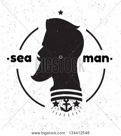 Silhouette of a sailor 's head. Black and white sailor 's head logo