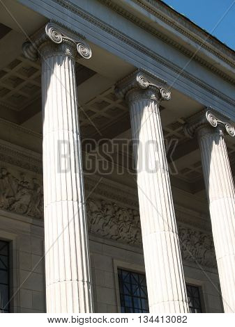 Perspective of portico with column ornaments and reliefs. Entrance to the Moscow Museum of Fine Arts