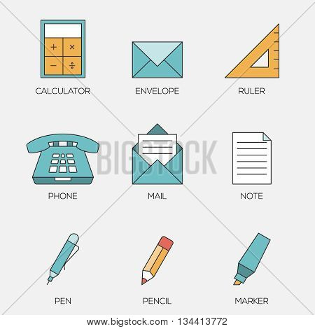 Office tools color line icons vol 2. Business office equipments