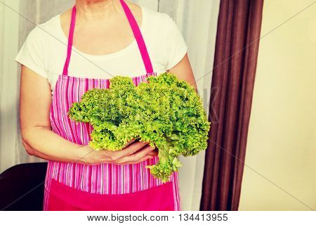 Senior woman holding green salad