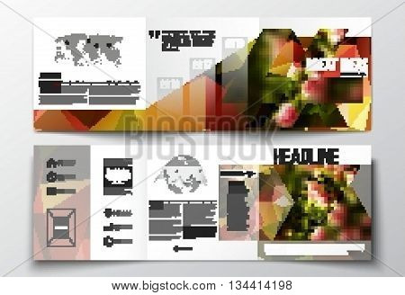 Vector set of tri-fold brochures, square design templates with element of world map and globe. Colorful polygonal floral background, blurred image, pink flowers on green, modern triangular texture