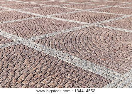 Cobblestone Pavement With Square Pattern