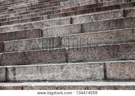 Old Stairway Made Of Granite, Closeup
