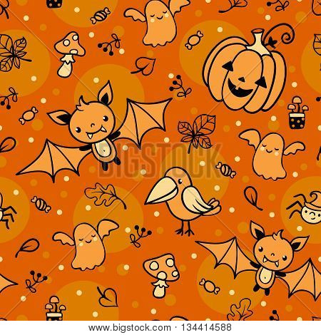 Halloween seamless pattern with ghost bat pumpkin crow mushroom spider.