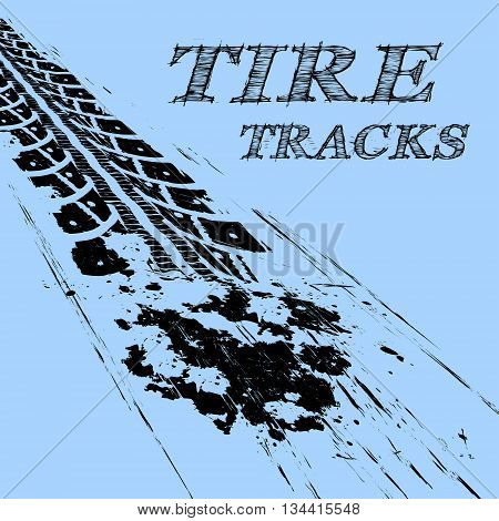 Tire tracks. Vector illustration on blue background
