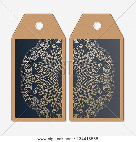 Vector tags design on both sides, cardboard sale labels. Golden microchip pattern, abstract template with connecting dots and lines, connection structure. Digital scientific vector background