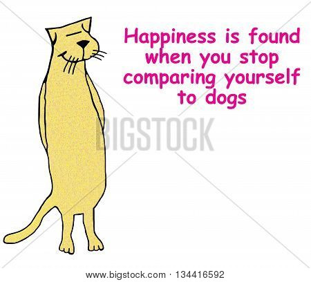 Cat cartoon about happiness is not comparing self to dogs.