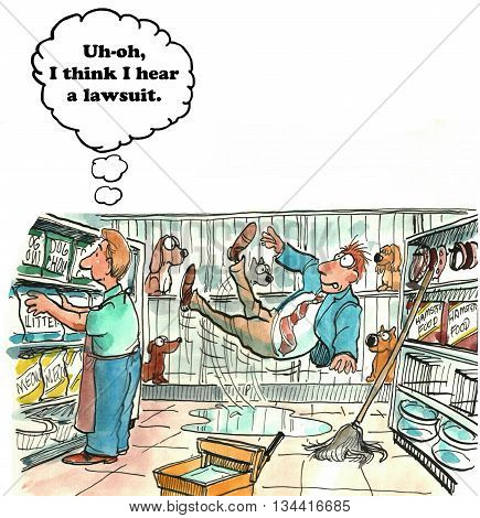 Legal cartoon about a customer falling in the store and filing a lawsuit.