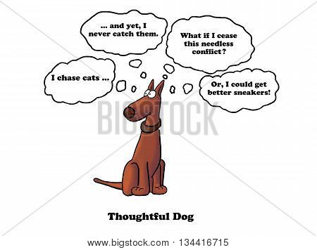 Cartoon of dog thinking about needless conflict with a cat.