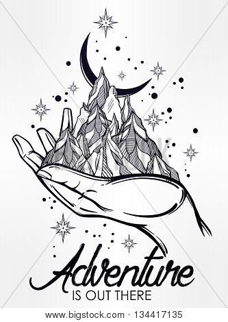 Hand drawn mountain range in a hand palm with typographic text. Adventure is out there. Isolated vector illustration. Invitation element. Tattoo, travel, adventure symbol. The great outdoors.