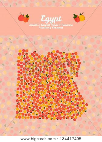 Egypt map poster or card. Vegetarian postcard. Map of Egypt made out of pink nectarines. Illustration. Series: Worlds Largest peach and nectarine Producing Countries. Can be used as seamless pattern.