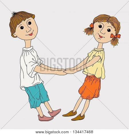 funny boy and girl holding hands color vector illustration