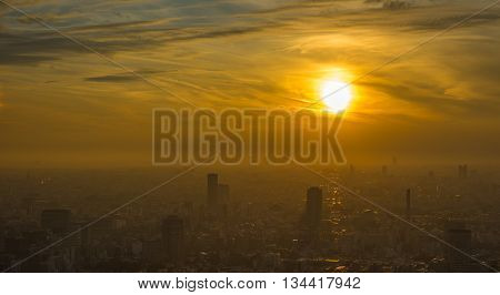 Highly detailed aerial panoramic view of Tokyo sunset